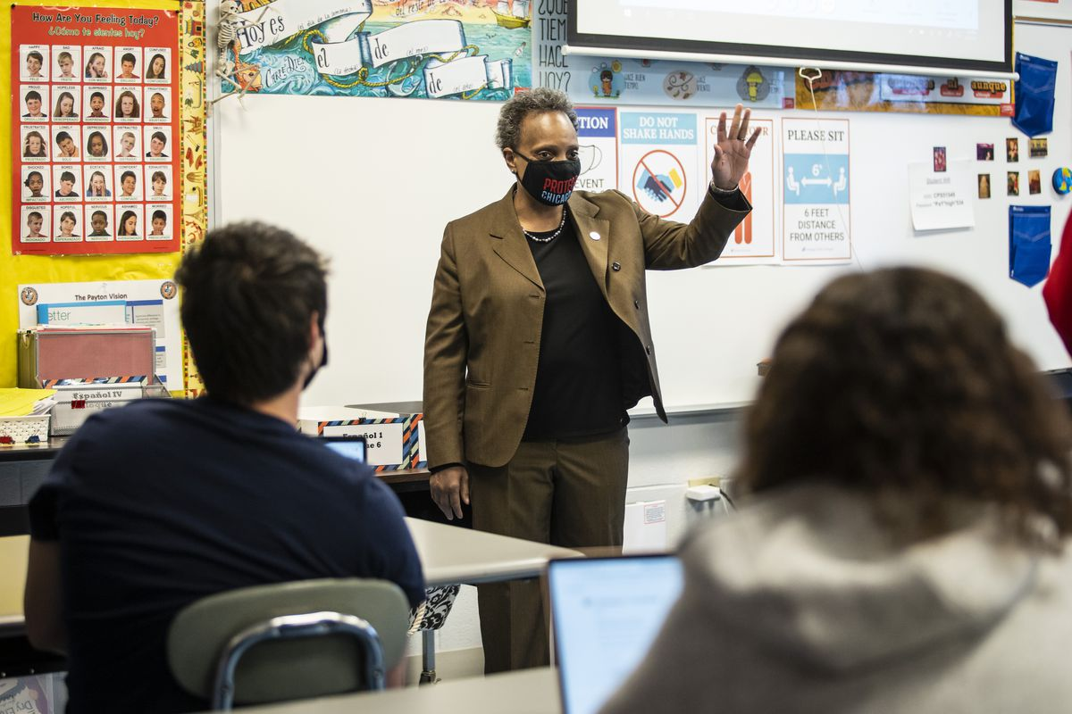 Mayor Lori Lightfoot visits a classroom at Walter Payton College Preparatory High School on the North Side, Monday afternoon, April 19, 2021.