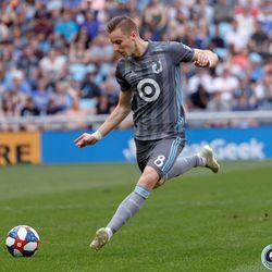 June 2, 2019 - Saint Paul, Minnesota, United States - Minnesota United midfielder Ján Greguš (8) kicks the ball during the match against Philadelphia Union at Allianz Field.