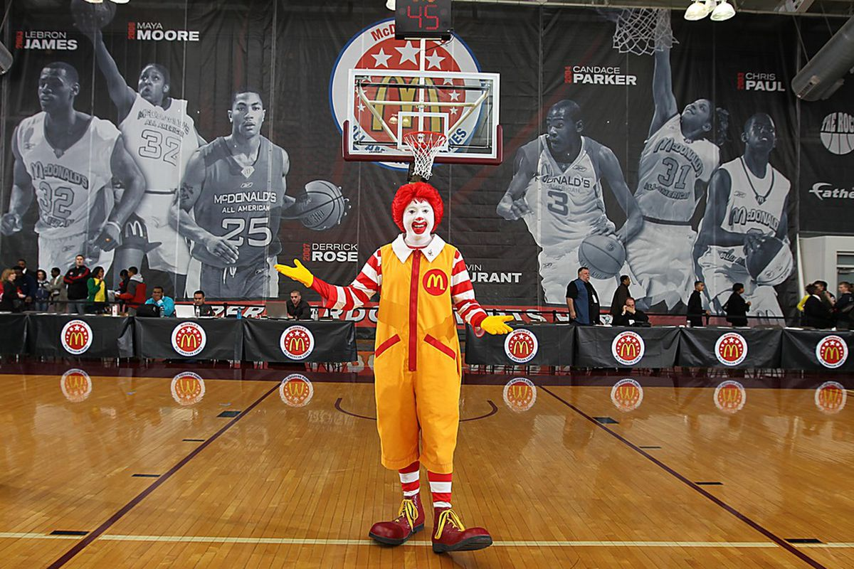 Mar 26, 2012; Chicago, IL, USA; Ronald McDonald poses for a photo after Jam Fest at the Gerald Ratner Athletic Center for the 35th McDonalds All American Game.  Mandatory Credit: Brian Spurlock-US PRESSWIRE