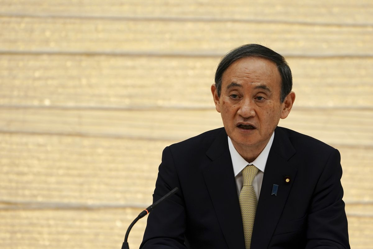 Japanese Prime Minister Yoshihide Suga declares a state of emergency for Tokyo and three other prefectures during the government task force meeting.