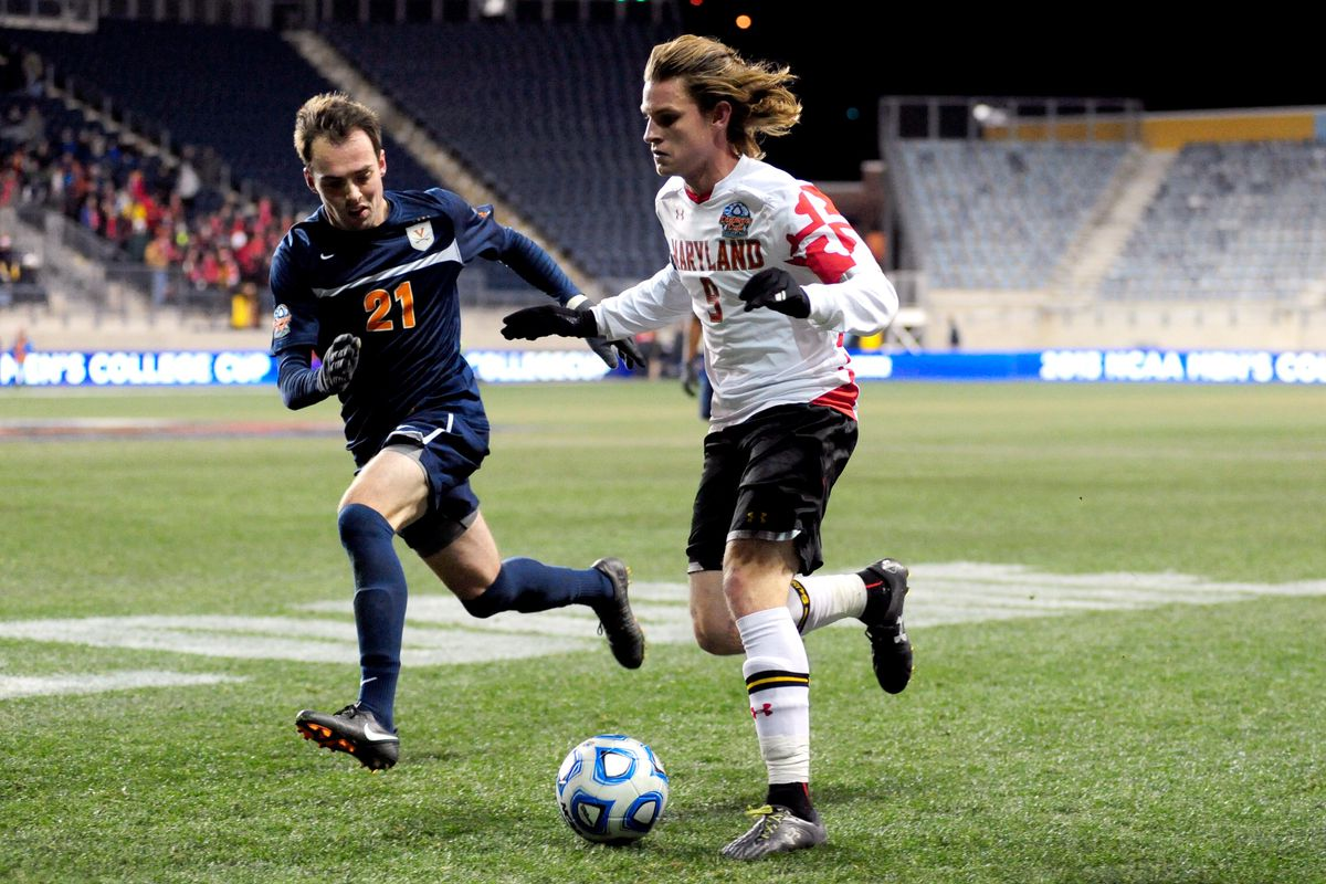 Alex Shinsky (R) started for the Maryland squad defeated by Harry Shipp's Notre Dame in the 2013 NCAA final.