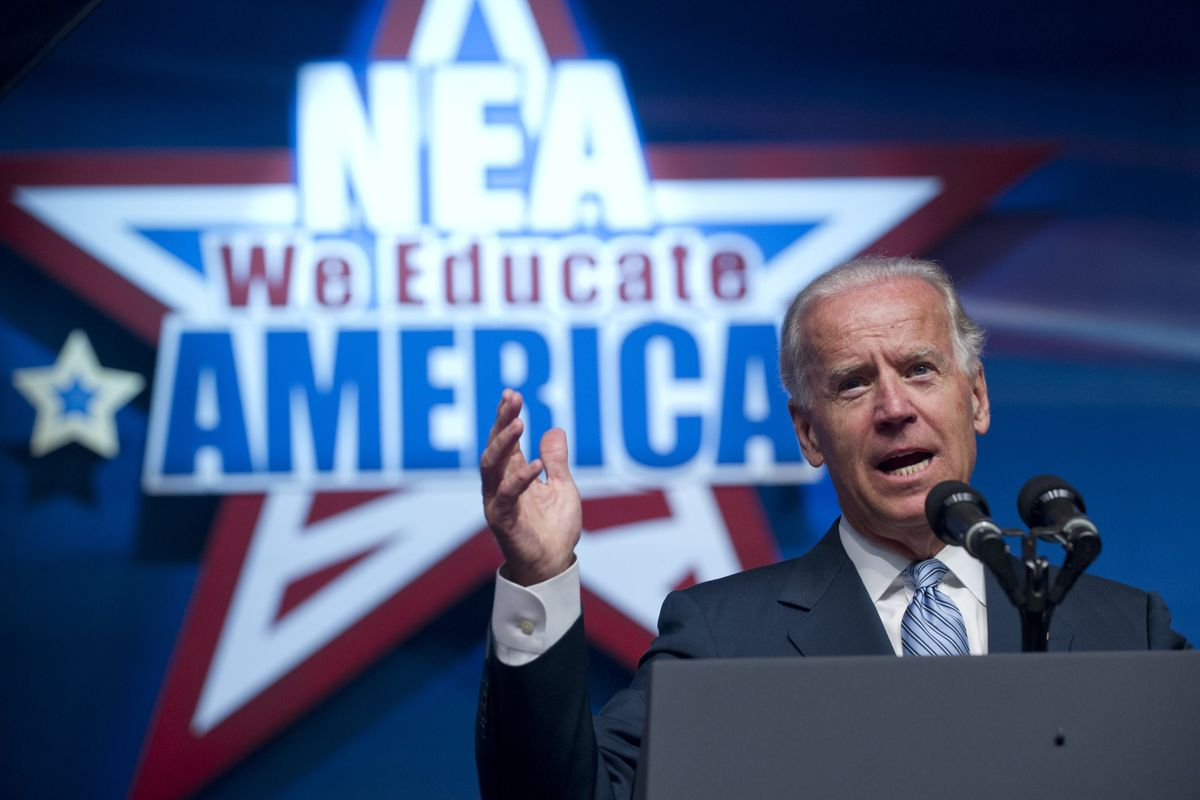 Joe Biden speaks during the National Education Association's annual meeting in 2012.