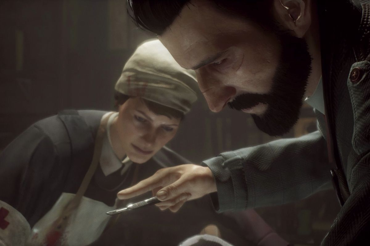 Vampyr's main character, Dr. Jonathan Reid, operating on a patient during a cutscene.