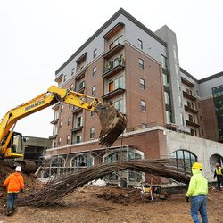 Rebar is moved to be used in laying foundations in Salt Lake City on Thursday, Feb. 2, 2017, during construction of the 9th East Lofts at Bennion Plaza. The building will provide 68 affordable apartments.