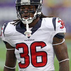 Aug 9, 2013; Minneapolis, MN, USA; Houston Texans safety D.J. Swearinger (36) warms up prior to the game against the Minnesota Vikings at the Metrodome.