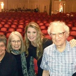 """Conductor Karen Keltner, left, director Maggie L. Harrer, actress Lindsay Anderson and lyricist Sheldon Harnick at Utah Festival Opera and Musical Theatre's staged reading of """"Rex"""" in 2013."""
