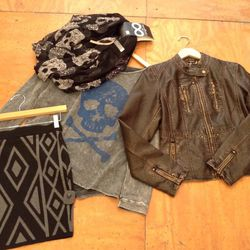 """From <a href=""""http://www.smakparlour.com"""">Smak Parlour</a>: Fitted Sweater Skirt, $45; Charcoal Skull Top, $52; Faux Leather Distressed Jacket, $70; Skull Scarf, $18"""