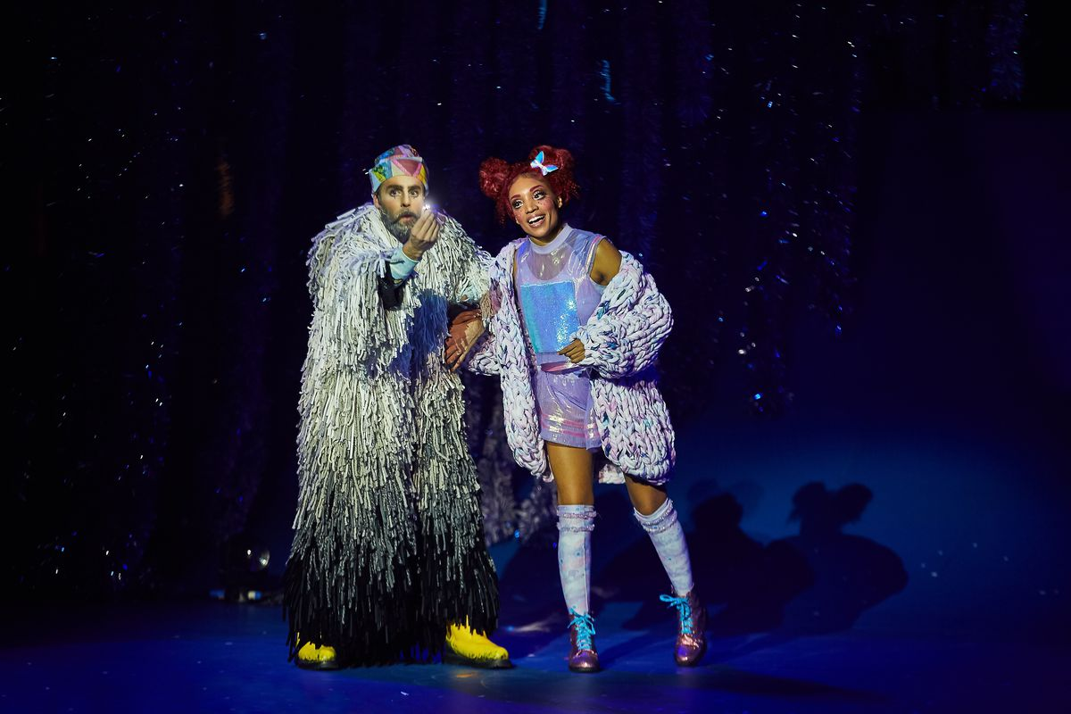 """Francis Gadbois as Jolly and Michelle Clark as Isabella in Cirque du Soleil's holiday show, """"'Twas the Night Before."""""""