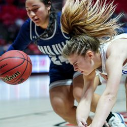 Bingham and Copper Hills compete in a 6A girls basketball semifinal game at the Huntsman Center in Salt Lake City on Friday, Feb. 28, 2020.