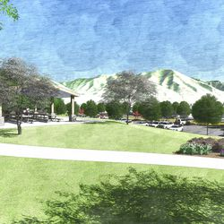 Inside the regional park, north parking lot, looking east. This is an artist's rendering of a portion of the planned residential community near the site of the Tooele Valley Utah Temple.