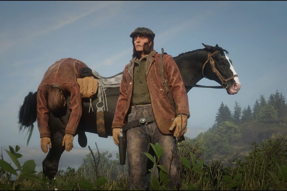 Charlie Wander stands in front of the corpse of Charlie Wander after testing out the Parley and Feud system in Red Dead online.