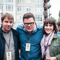 Eater publisher Lockhart Steele, Feast co-founder Mike Thelin, and Eater editorial director Amanda Kludt at the Night Market.