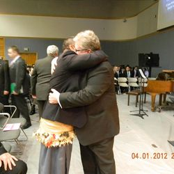 Hugging Daniel Pray as we met in the MTC, our first meeting since our missions 29 years ago.