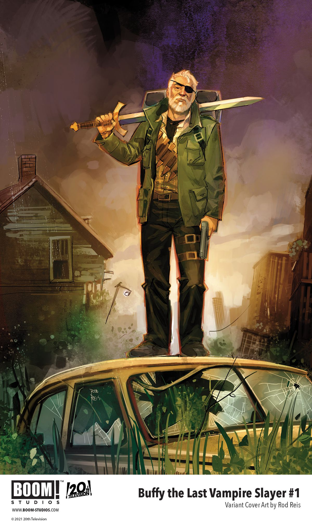 Buffy The Last Vampire Slayer - variant cover art for the first issue, which shows an old man in a post-apocalyptic scene with a sword slung over his shoulder.