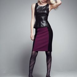 Lambskin peplum top, polyester lining, black, $84.90 after sale $128. Color-blocked pencil skirt, polyester/viscose/elastane, purple nectar/black; also in other colors, $45.90 after sale $69