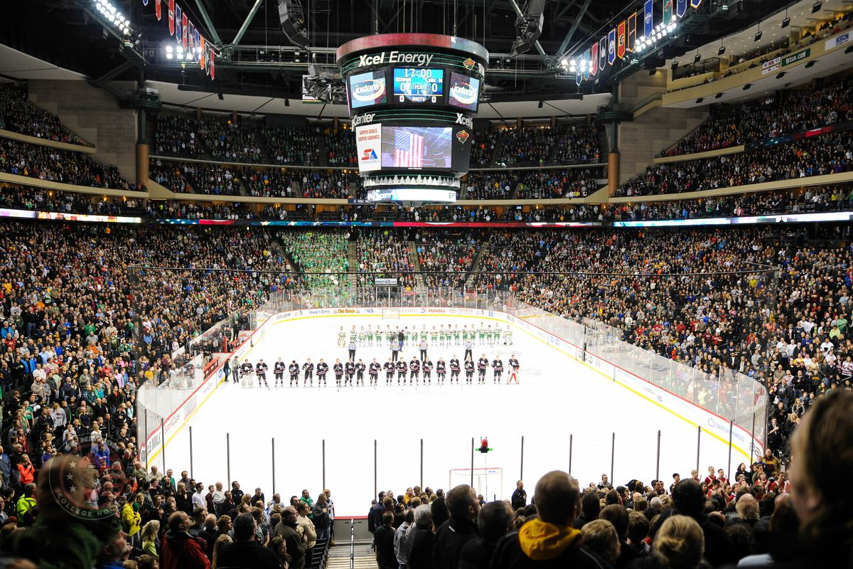 The Xcel Energy Center for a high school hockey championship game.