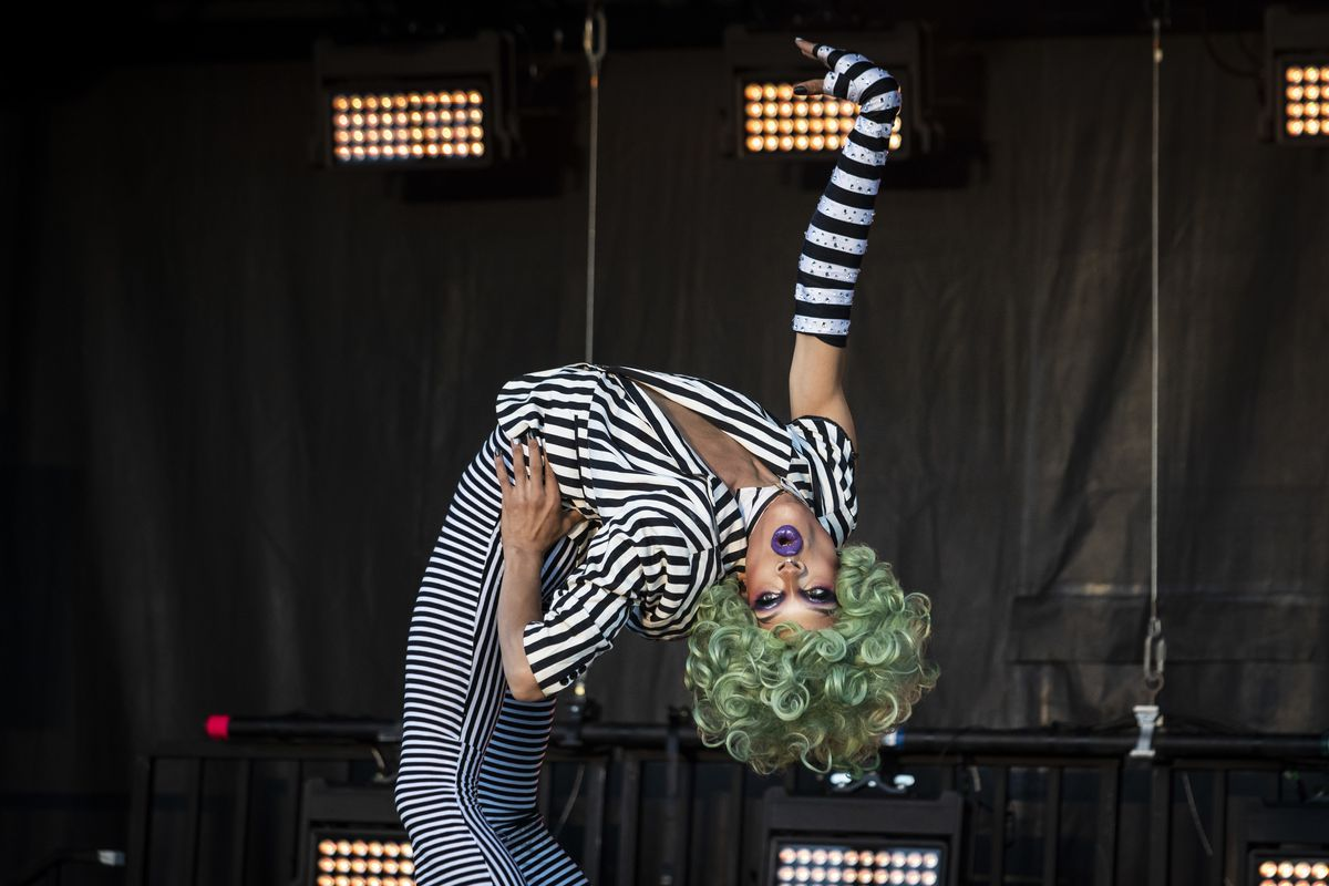 Yvie Oddly, winner of the eleventh season of RuPaul's Drag Race, performs during Drive 'N Drag presented by Voss Events at Soldier Field, Friday night, Aug. 7, 2020.