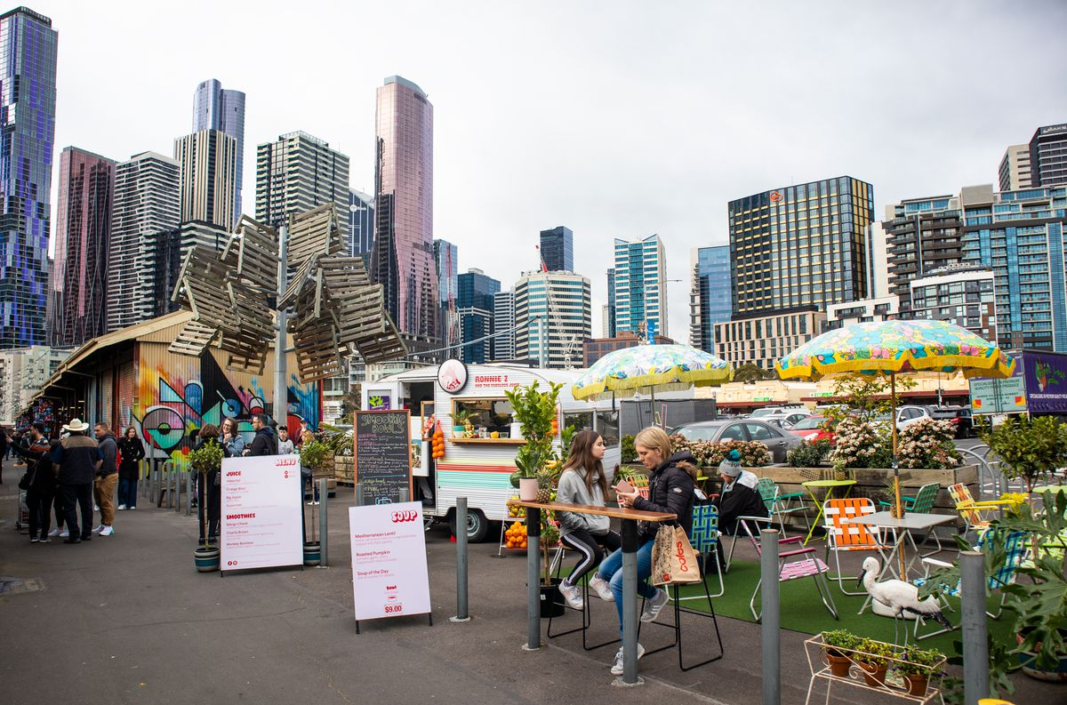 Lawn chairs and faux turf decorate the quirky stands at String Bean Alley