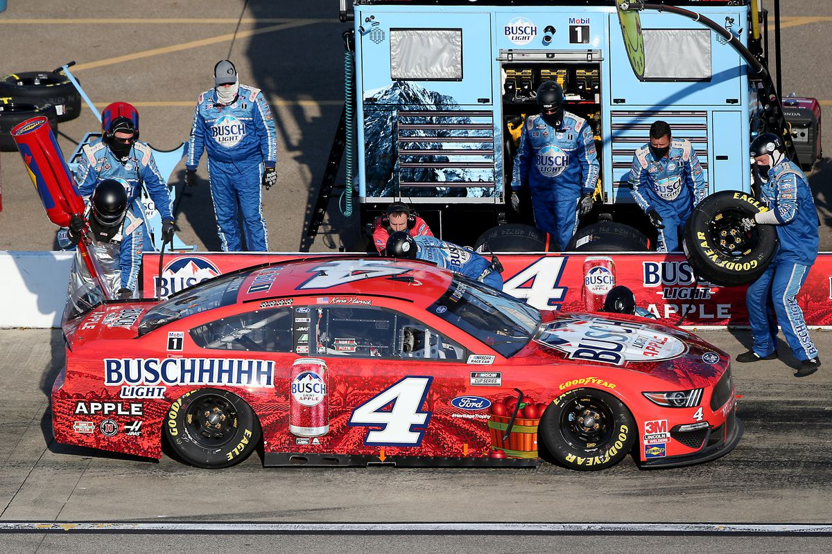 Kevin Harvick, driver of the #4 Busch Light Apple Ford, pits during the NASCAR Cup Series FireKeepers Casino 400 at Michigan International Speedway on August 08, 2020 in Brooklyn, Michigan.