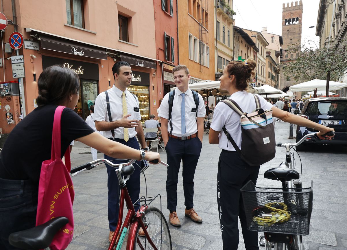 Elders Samuel Nagliati and Cole Draper, missionaries for The Church of Jesus Christ of Latter-day Saints, make contacts in Bologna, Italy, on Thursday, Sept. 16, 2021.