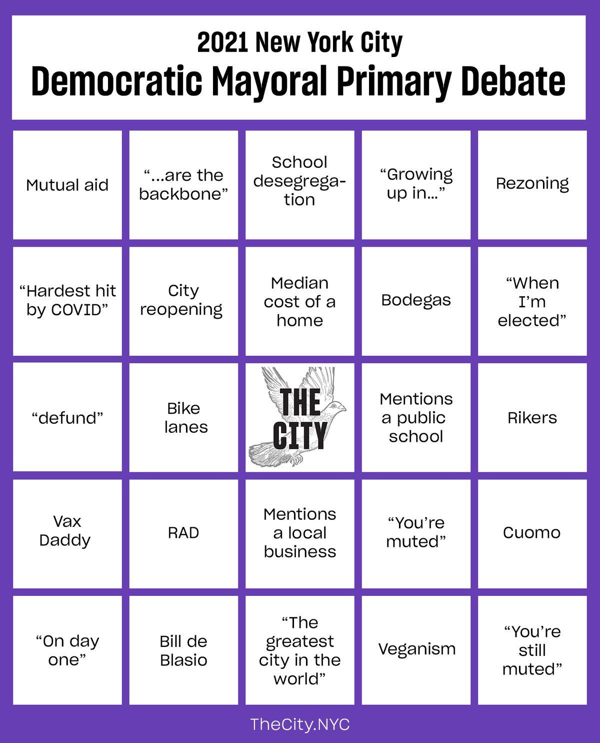 Bingo card describing New York City debate tropes.