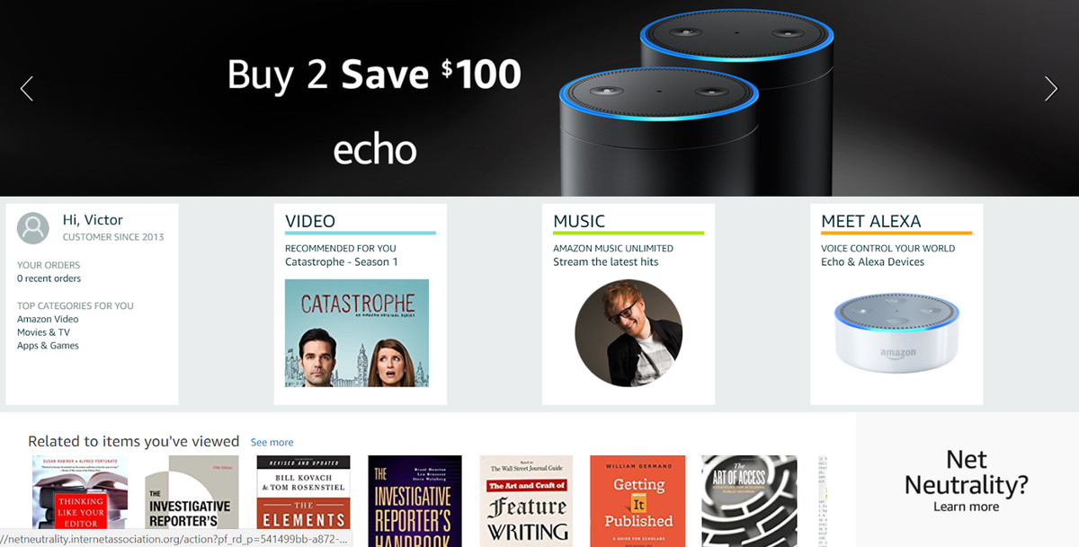 For a short time Wednesday morning, Amazon had an embarrassingly bland ad stuck below the fold on its homepage. (Screenshot via Amazon.com)