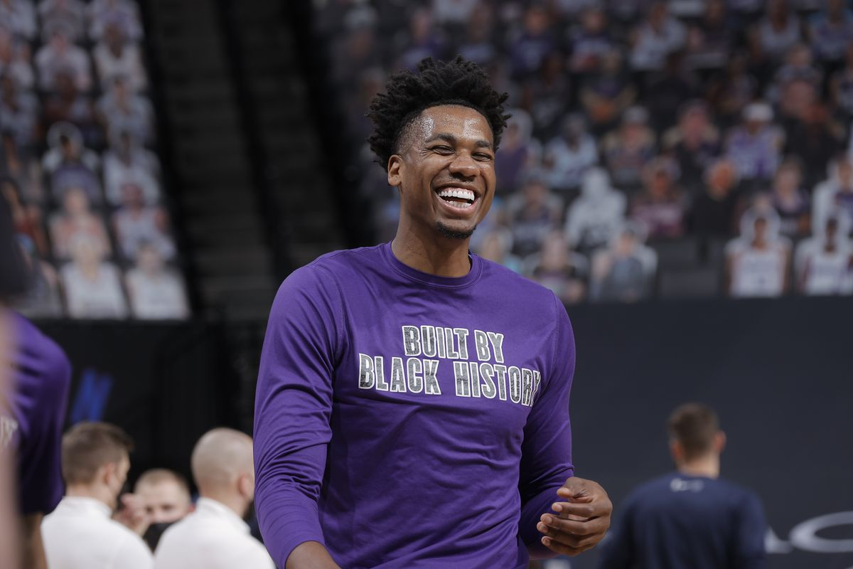 Hassan Whiteside of the Sacramento Kings smiles before the game against the Memphis Grizzlies on February 14, 2021 at Golden 1 Center in Sacramento, California.