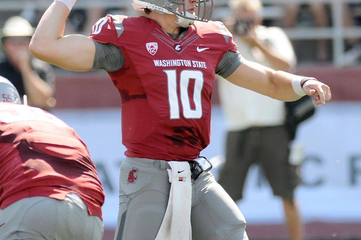Sept. 8, 2012; Pullman, WA, USA; Washington State Cougars quarterback Jeff Tuel (10) drops back for a pass against the Eastern Washington Eagles during the first half at Martin Stadium.  Mandatory Credit: James Snook-US PRESSWIRE