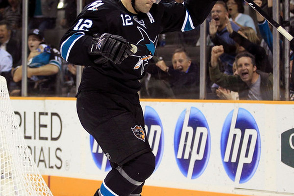 SAN JOSE CA - NOVEMBER 15:  Patrick Marleau #12 of the San Jose Sharks celebrates after he scored a goal during their game against the Los Angeles Kings at HP Pavilion on November 15 2010 in San Jose California.  (Photo by Ezra Shaw/Getty Images)