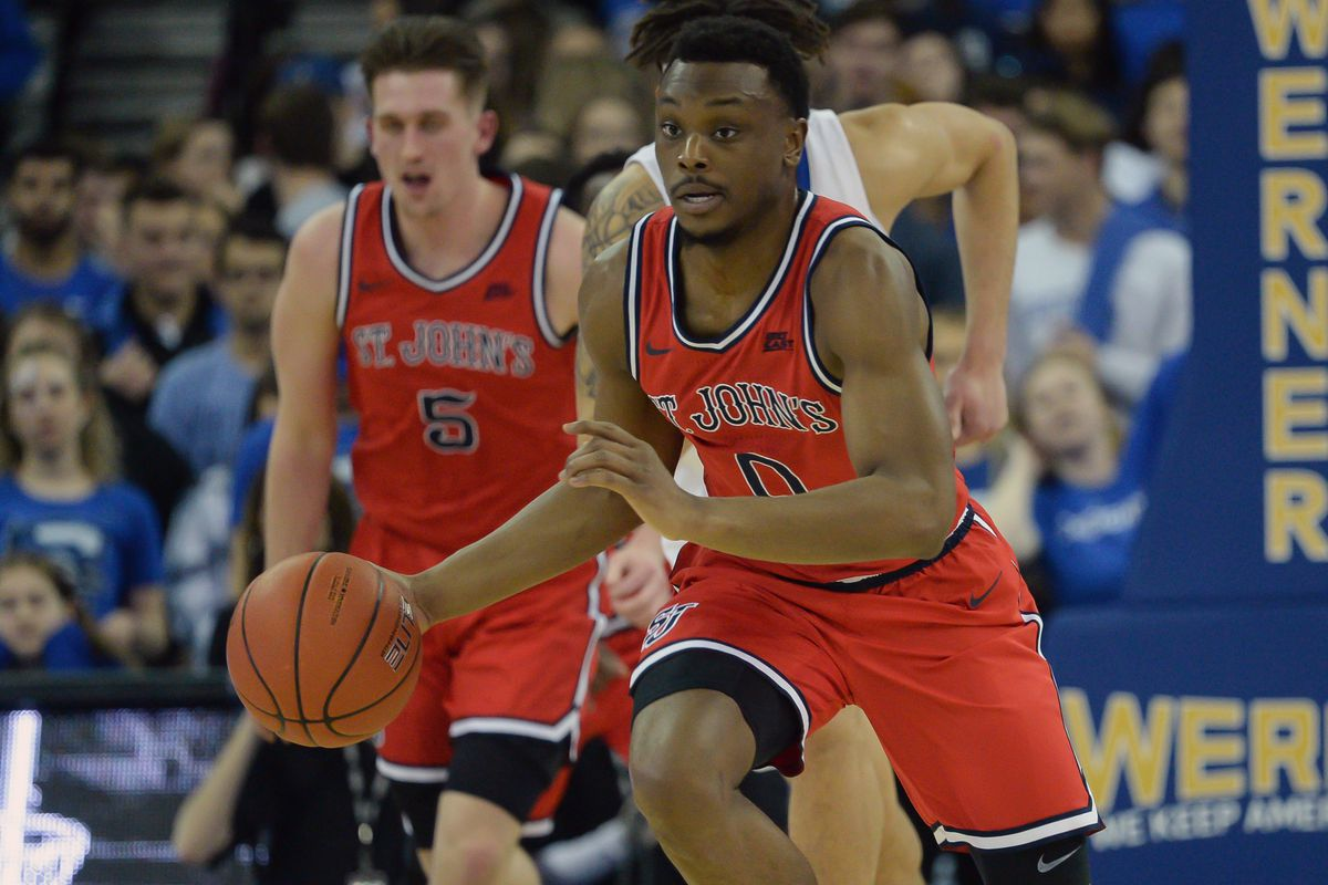 St. John's Red Storm guard Mustapha Heron drives up the court against the Creighton Bluejays in the first half at CHI Health Center Omaha.