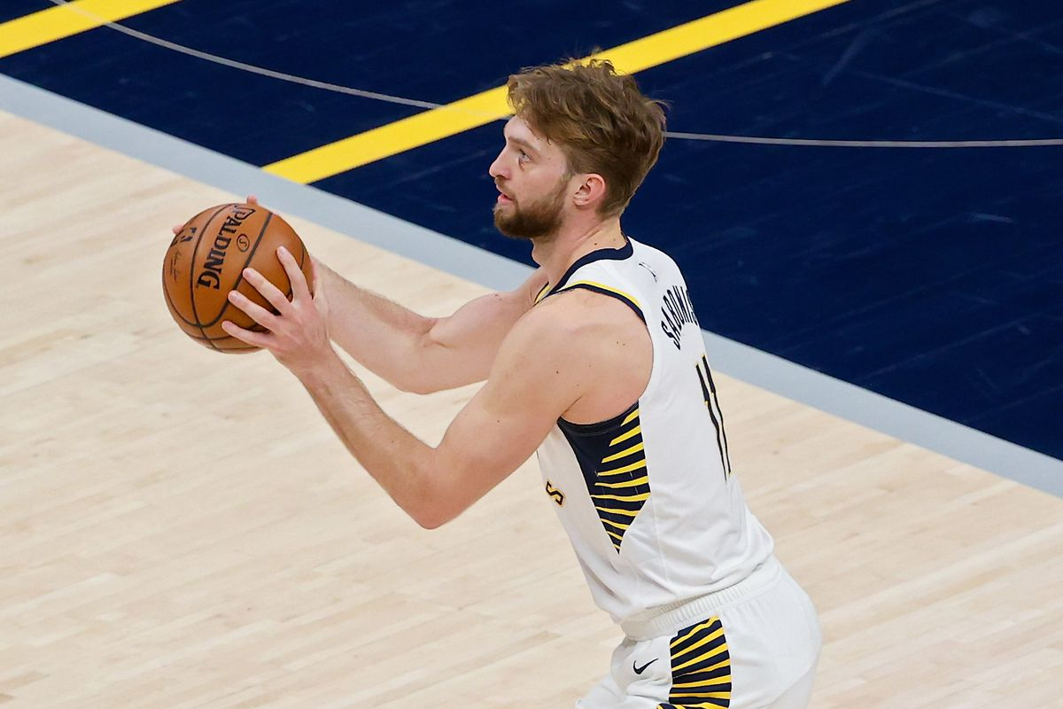 Domantas Sabonis of the Indiana Pacers attempts a shot in the first quarter against the Atlanta Hawks at Bankers Life Fieldhouse on May 06, 2021 in Indianapolis, Indiana.