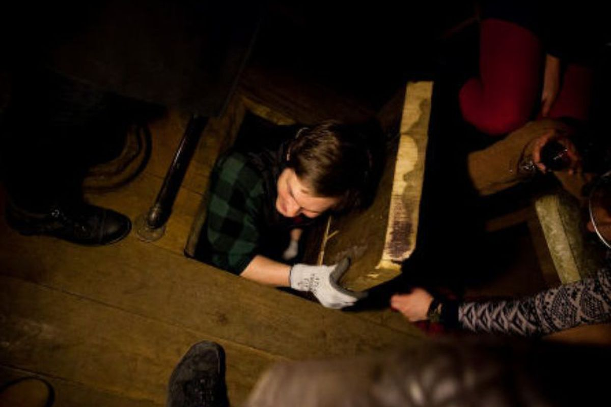 Guests at The Night Heron climbed 12 flights of stairs and crawled through a trap door to get to the bar.