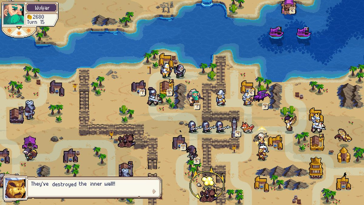"""A screenshot of a map from the Wargroove co-op campaign, """"Double Trouble"""""""