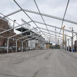 The tent structure in the Blue Lot, looking south -