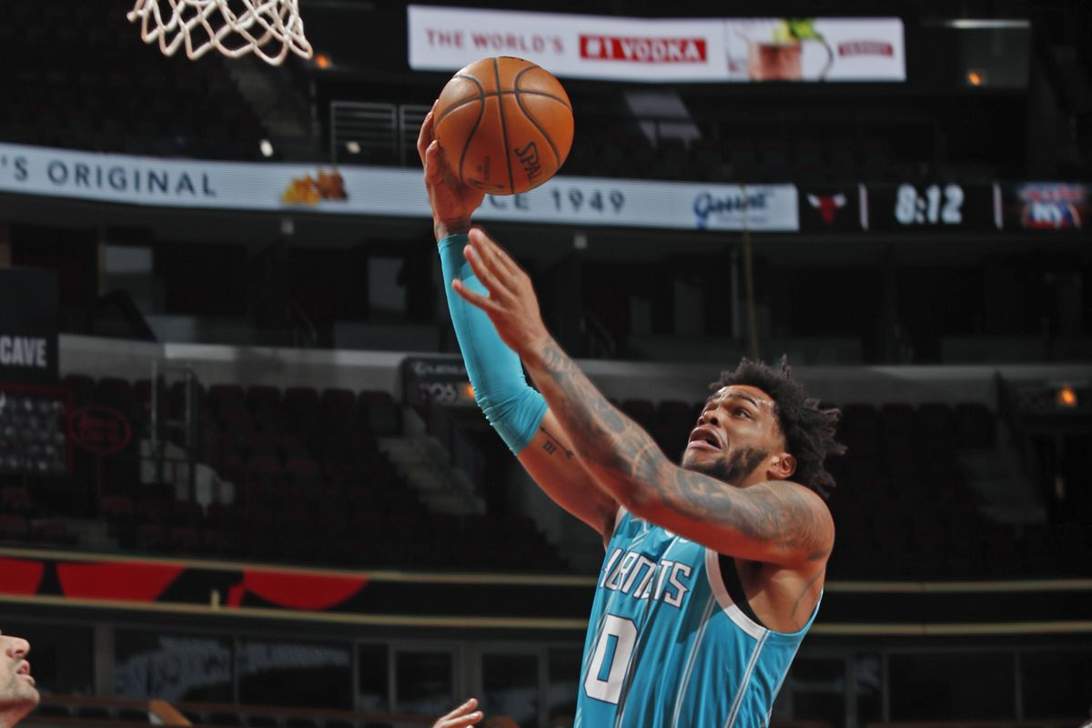 Miles Bridges #0 of the Charlotte Hornets drives to the basket against the Chicago Bulls on April 22, 2021 at United Center in Chicago, Illinois.