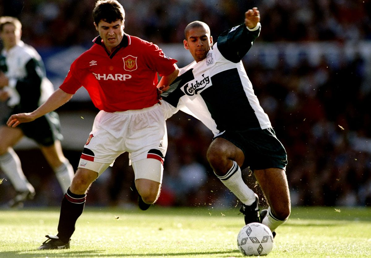 Roy Keane of Manchester United and Phil Babb of Liverpool