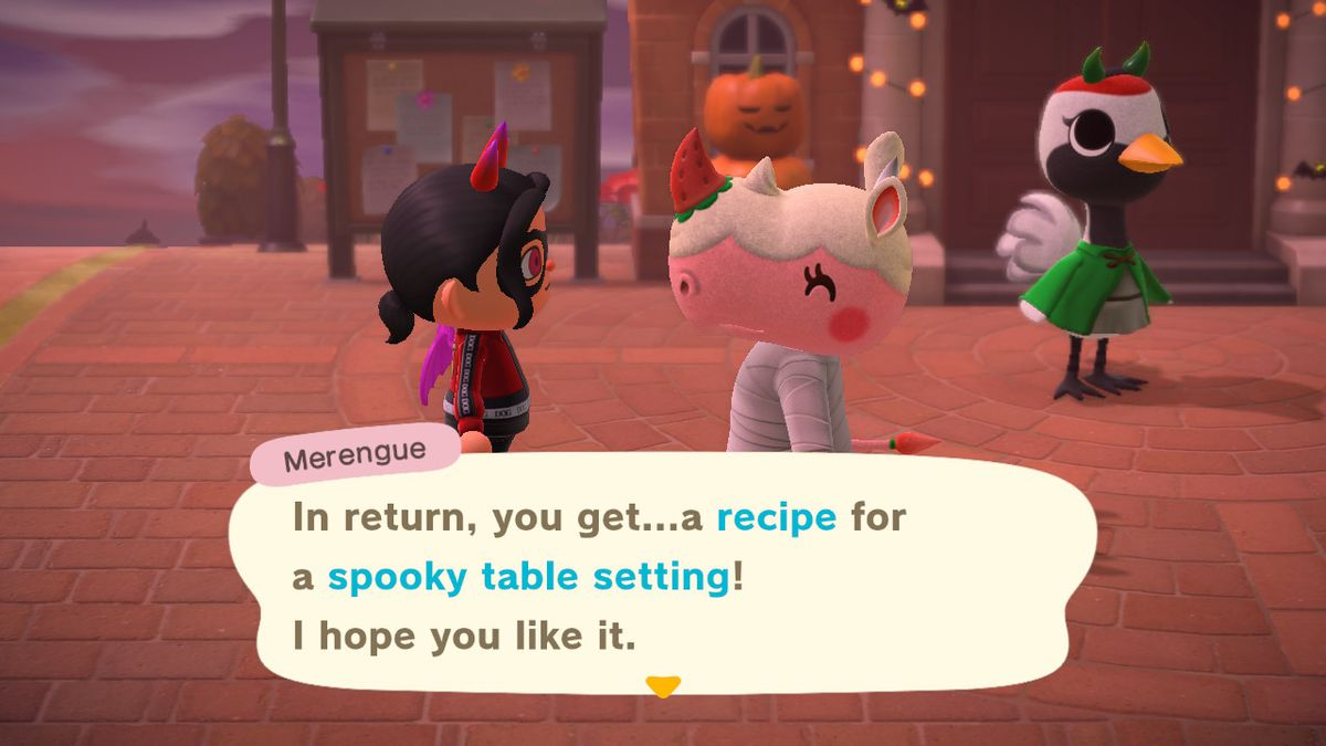 Merengue offers a Spooky Table Setting recipe to the player