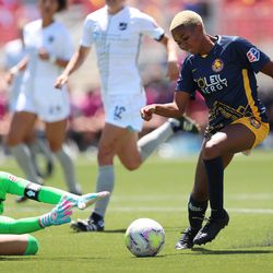 Utah Royals FC forward Tziarra King (3) has the ball knocked away by Sky Blue FC goalkeeper Kailen Sheridan (1) as the Royals and Sky Blue play in the National Women's Soccer League Challenge Cup at Zions Bank stadium in Herriman on Saturday, July 4, 2020. Utah won 1-0.