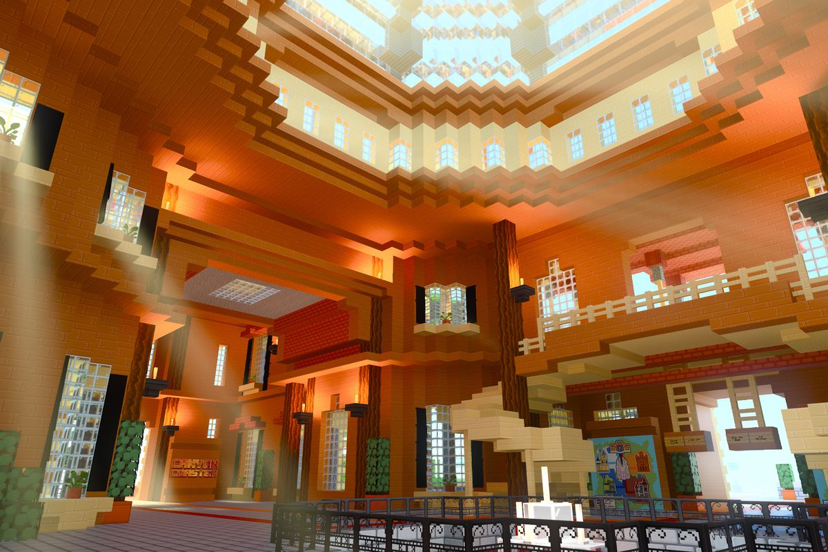 the interior of a glass-domed mall with RTX on in the Minecraft with RTX beta
