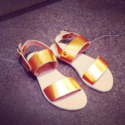 """Pint-sized metallic sandals by <a href=""""http://www.caramel-shop.co.uk/""""target=""""_blank"""">Caramel Baby & Child</a>. (Is it weird that we want these for ourselves?)"""