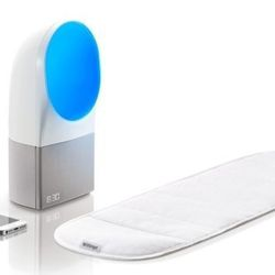 Withings Aura sleep system comes with a thin pad that fits under a mattress to record stats such as movement and breathing while you sleep. On your nightstand, another component processes noise levels, room temperature and light. Sounds and LED lights hel