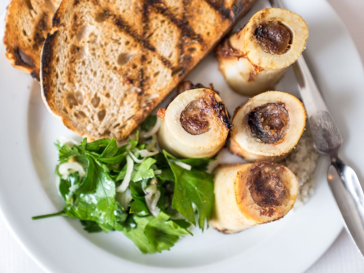 Bone marrow at St John, one of London's restaurants with a butchery attached