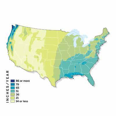 U.S. Map Of Rainfall Levels