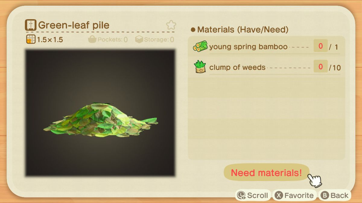 An Animal Crossing crafting screen for a Green-leaf Pile
