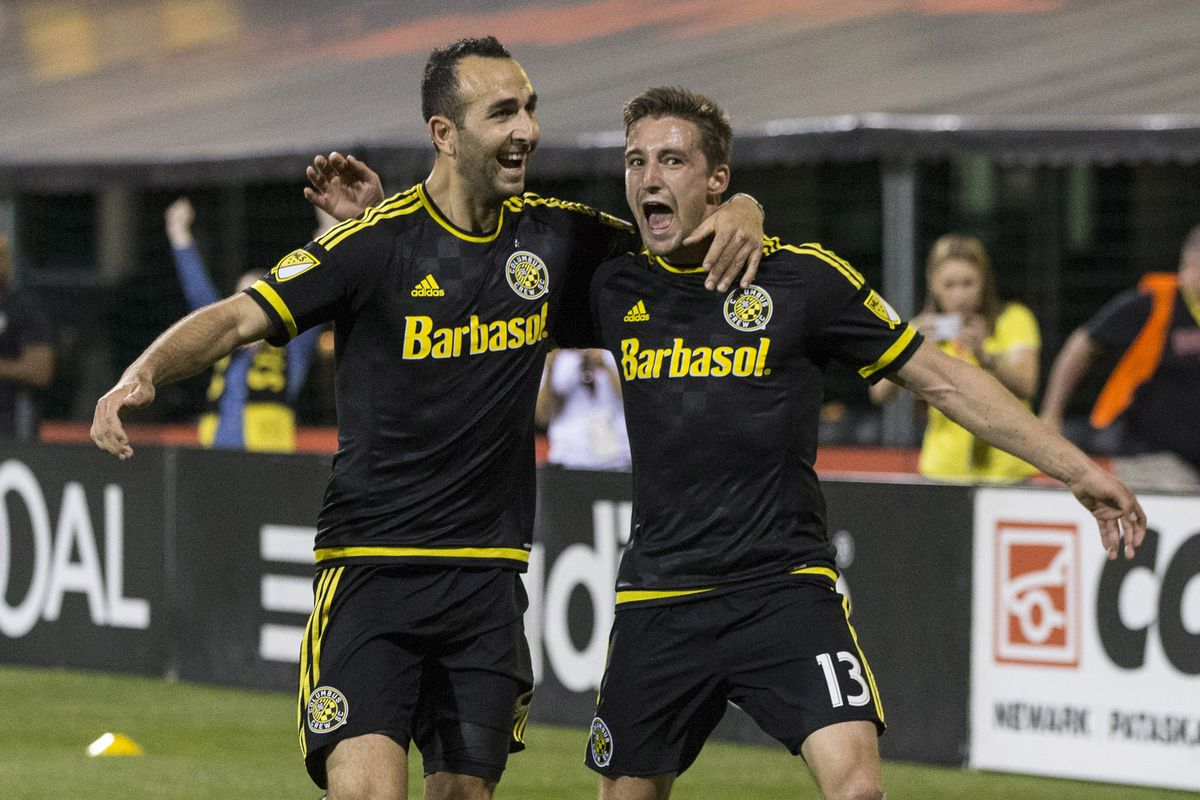 Justin Meram and Ethan Finlay celebrate a goal during a 3-2 win over NYCFC on Saturday.