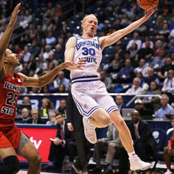 BYU guard TJ Haws loses the ball out of bounds on a long pass as BYU and Illinois State play in Provo on Wednesday, Dec. 6, 2017.