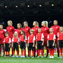 USWNT lineup for the anthem against South Korea on October 19.