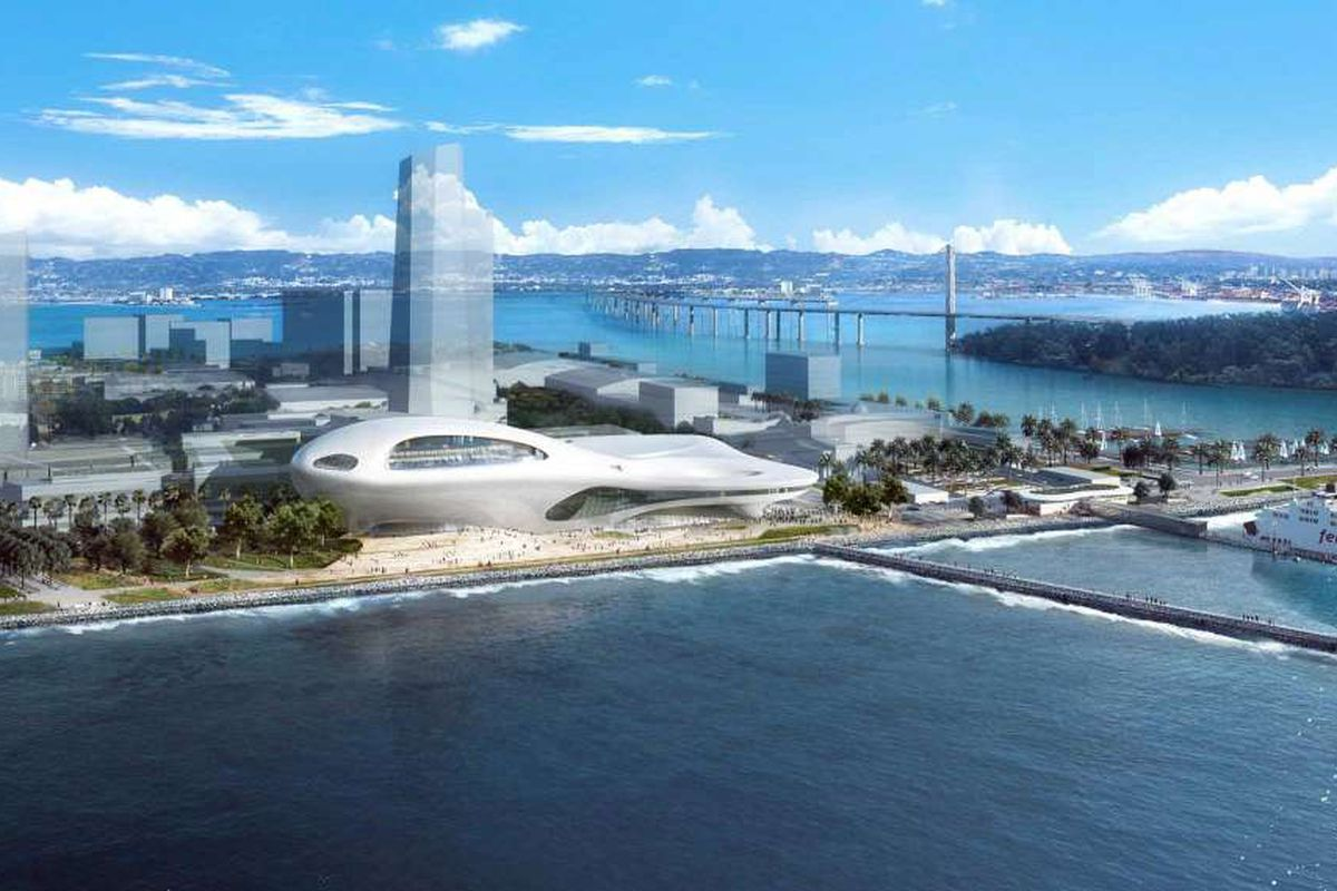 A rendering of the Lucas Museum, a swooping silver building, on Treasure Island