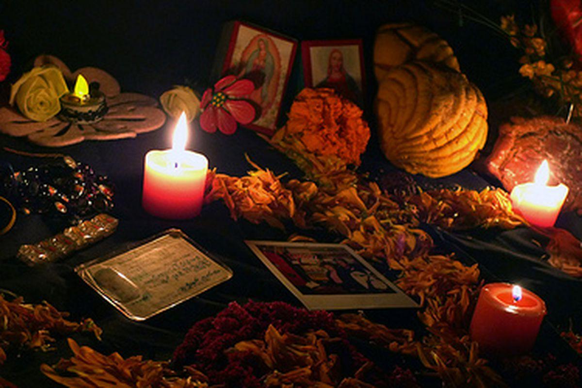 Offerings of Dia de los Muertos sweets.