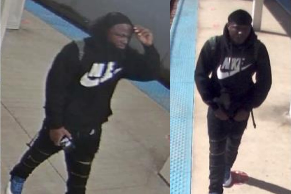 Surveillance images of a man suspected of spitting on Blue Line riders in Irving Park Oct. 6, 2020.